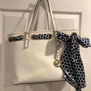 Michael Kors Jet Set Scarf Tote in Optic White